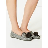 M&S Collection Pom-Pom Moccasin Slippers