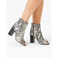 M&S Collection Animal Print Block Heel Peep Toe Ankle Boots