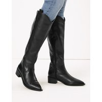 M&S Collection Leather Western Knee High Boots