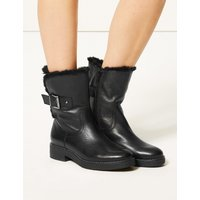 M&S Collection Wide Fit Leather Faux Fur Cuff Ankle Boots