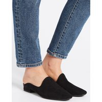 M&S Collection Wide Fit Suede Block Heel Mule Shoes