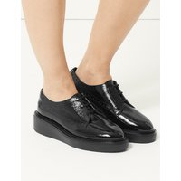 M&S Collection Wide Fit Leather Flatform Heel Brogue Shoes