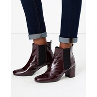 M&S Collection Leather Patent Block Heel Chelsea Ankle Boots