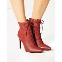 M&S Collection Leather Stiletto Heel Side Zip Ankle Boots