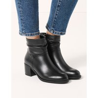 Leather Ruched Ankle Boots black