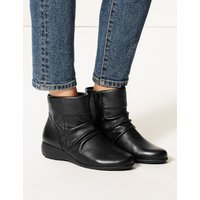 M&S Collection Leather Wedge Heel Side Zip Ankle Boots