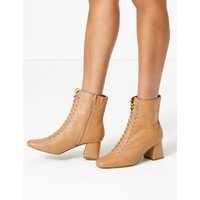 MandS Collection Leather Lace Up Ankle Boots