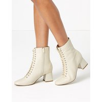 M&S Collection Leather Lace Up Ankle Boots