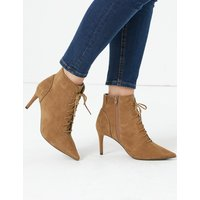 MandS Collection Suede Lace Up Stiletto Heel Ankle Boots