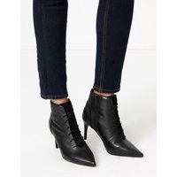 MandS Collection Leather Lace Up Stiletto Heel Ankle Boots