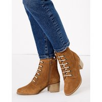 MandS Collection Suede Lace Up Block Heel Ankle Boots