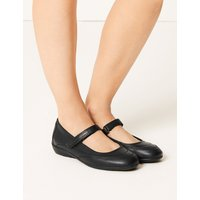 M&S Collection Leather Cut Out Dolly Pump Shoes