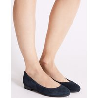 M&S Collection Wide Fit Suede Round Toe Pumps