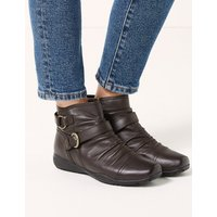 M&S Collection Extra Wide FitLeather Ruched Ankle Boots