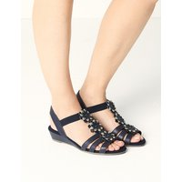 M&S Collection Wide Fit Leather Flower Sandals