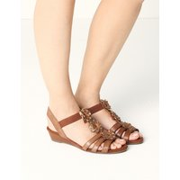 Wide Fit Leather Flower Sandals brown