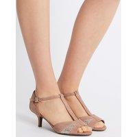 M&S Collection Wide Fit Suede Kitten Heel Buckle Sandals