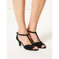 M&S Collection Wide Fit Suede Kitten Heel Sandals