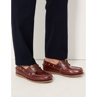M&S Collection Big & Tall Leather Lace-up Boat Shoes