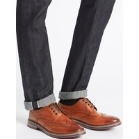 M&S Collection Big & Tall Leather Trisole Brogue Shoes