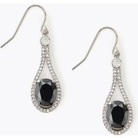 M&S Collection Platinum Plated Onyx Drop Earrings