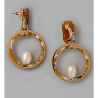 Autograph Circle Pearl Drop Earrings