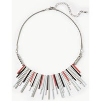 M&S Collection Metal Striped Fan Necklace