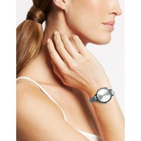 MandS Collection Round Face Case Strap Watch
