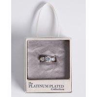 M&S Collection Platinum Plated Trio Classic Diamant © Ring.