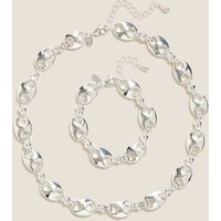 MandS Womens Chunky Chain Necklace and Bracelet Set - 1SIZE - Gold Mix, Gold Mix,Silver Mix
