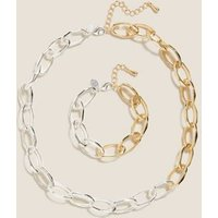 MandS Womens Mixed Chain Necklace and Bracelet Set - 1SIZE - Silver Mix, Silver Mix
