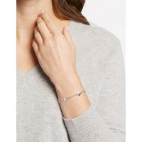 M&S Collection Sterling Silver Stone Disc Bracelet with Swarovski Crystals