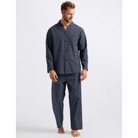 M&S Collection Big & Tall Cotton Blend Printed Pyjama Set