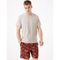 M&S Collection Pure Cotton Palm Print Pyjama Set