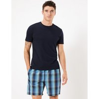 M&s Collection 2 Pack Cotton Checked Pyjama Shorts