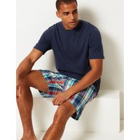 M&S Collection 2in Longer Cotton Checked Pyjama Shorts Set