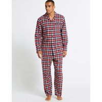 M&S Collection Big & Tall Brushed Cotton Checked Pyjama Set
