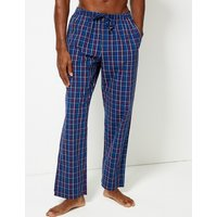 M&s Collection 2 Pack Pure Cotton Checked Long Pyjama Bottoms