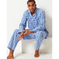 M&S Collection 2in Longer Pure Cotton Checked Pyjama Set