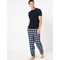 M&s Collection 2 Pack Brushed Cotton Checked Pyjama Bottoms