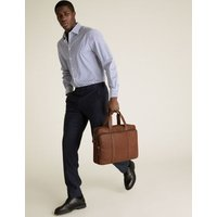 M&S Mens Leather Briefcase - 1SIZE - Tan, Tan