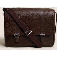 MandS Mens Leather Messenger Bag - 1SIZE - Brown, Brown,Black