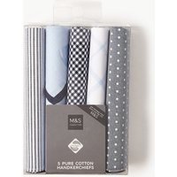 M&S Collection 5 Pack Pure Cotton Handkerchiefs with Sanitized Finish