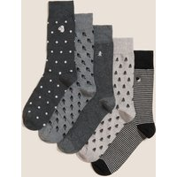 M&S Mens 5pk Cool & Freshtm Assorted Socks - 9-12 - Grey Mix, Grey Mix