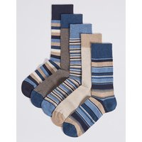 M&S Collection 5 Pack Cool & Freshfeet Striped Socks