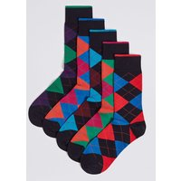 M&S Collection 5 Pack Cool & Freshfeet Checked Socks