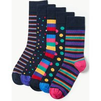 M&S Collection 5 Pack Cotton Rich Assorted Socks