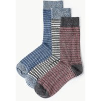 M&S Collection 3 Pack Cool & Freshfeet Striped Socks