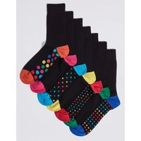 M&S Collection 7 Pack Freshfeet Spotty Sole Socks