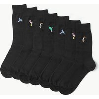M&S Collection 7 Pack Cool & Fresh Bird Embroidered Socks